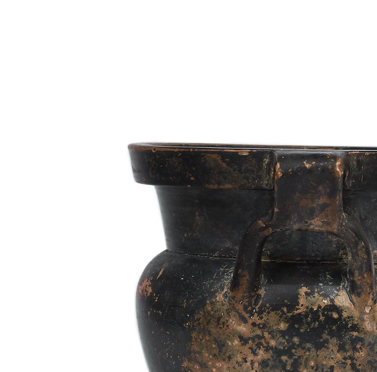 Italian Greek Black Glazen Column Krater (4th Century BC) For Sale