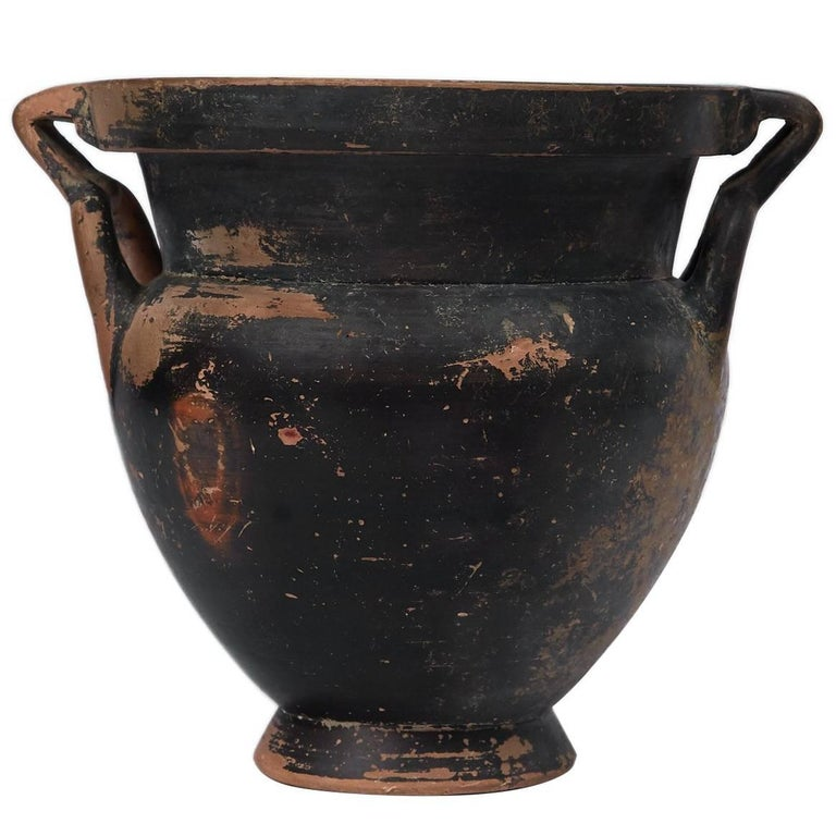 Greek Black Glazen Column Krater (4th Century BC) For Sale