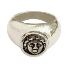 Greek Coin Authentic V Cent. B.C. Sterling Silver Ring Depicting God Apollo