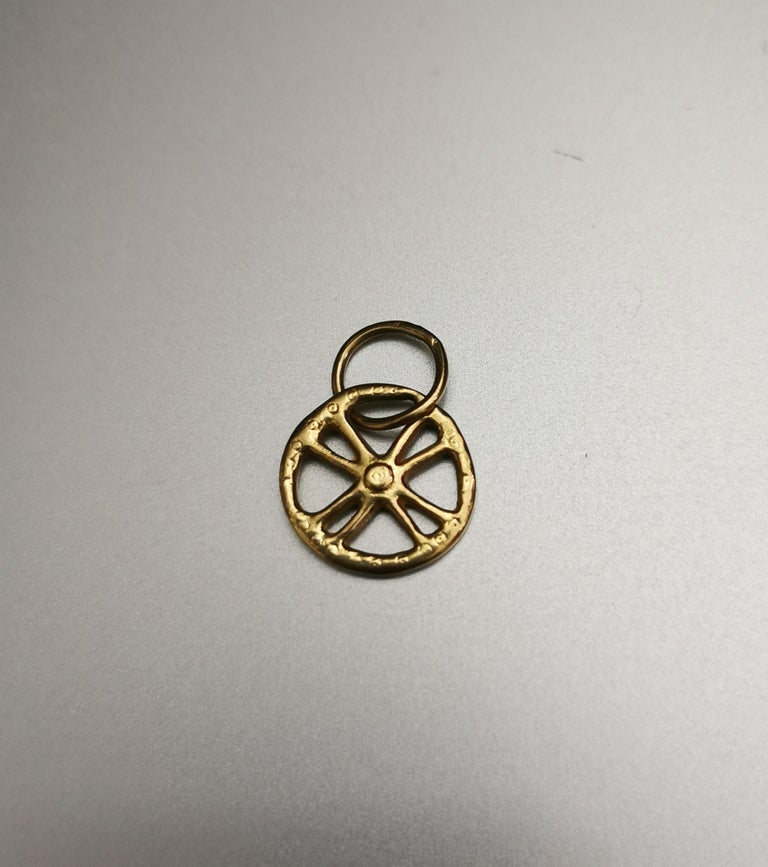 Greek Cross Circle Yellow Gold 18k Pendant Charm. Greek revival.  Total height: 0.79 inch (2.00 centimeters) including bail.