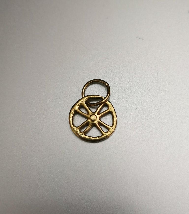 Greek Revival Greek Cross Circle Yellow Gold 18 Karat Pendant Charm For Sale