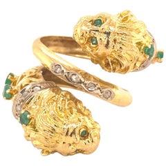 Greek Double Chimera Lion Head Emerald Diamond Filigree 18 Karat Gold Ring