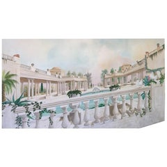 Greek Garden Panoramic Oil Painting on Canvas Panel, Signed