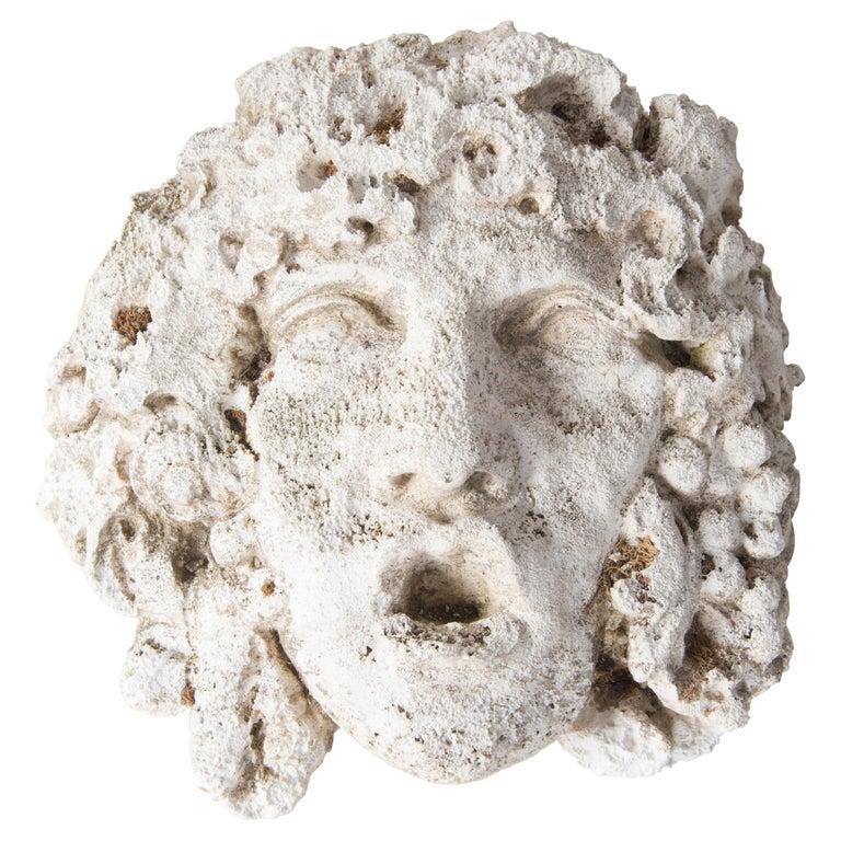 Greek God Cast Stone Garden Wall Ornament For Sale