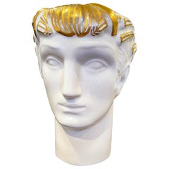 """Greek Head,"" Art Deco Porcelain Vase in White and Gold by De Vegh, 1930s"