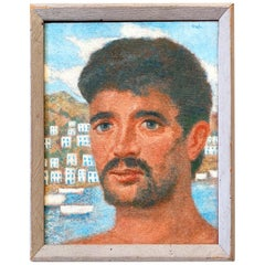 """Greek Islander,"" Vivid Portrait of Greek Male Figure with Aegean Sea Backdrop"