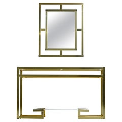 Greek Key 1970s Hollywood Regency Tubular Gold Aluminum Console and Mirror