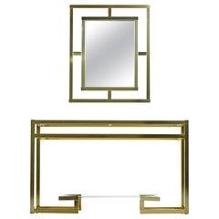 Greek Key 1970s Hollywood Regency Tubular Gold Aluminum Console and Mirror
