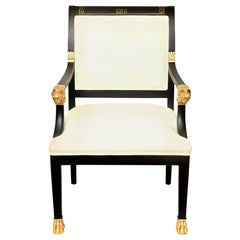 Greek Key and Ram's Head Regency Gold Leafed and Wood Upholstered Side Chair
