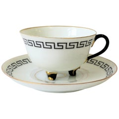 Greek Key Black and White Espresso Coffee or Tea Cup and Saucer