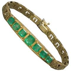 Greek Key Colombian Emerald Bracelet