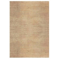 Greek Key Contemporary Geometric Beige & Gray Hand Knotted Wool & Silk Carpet