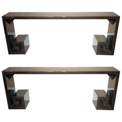 Greek Key Custom Pair of 1940s Ebonized and Lacquered Console Tables