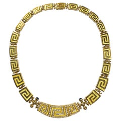 Greek Key Design Diamond Graduating Collar Necklace