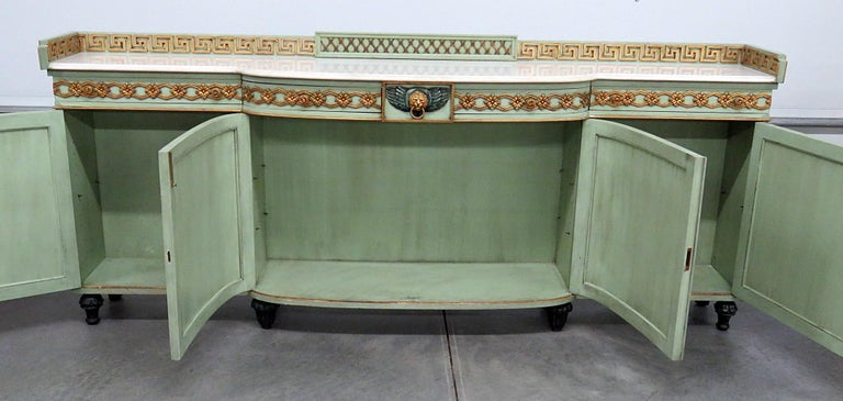 Greek Key Design Marble-Top Sideboard For Sale 6