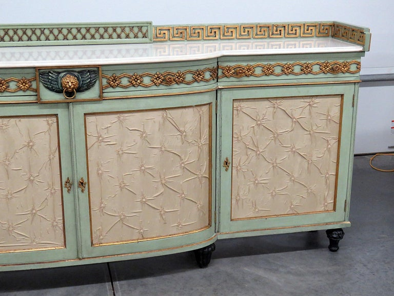 Greek Key Design Marble-Top Sideboard In Good Condition For Sale In Swedesboro, NJ