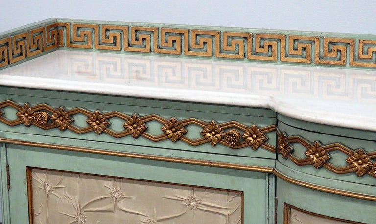 Greek Key Design Marble-Top Sideboard For Sale 1