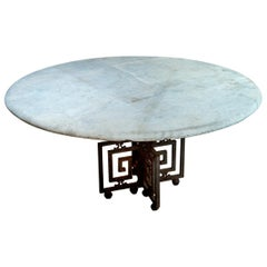 Greek Key Iron Base Marble-Top Table