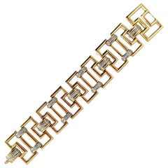 18 Karat Gold Diamond link Contemporary Bracelet
