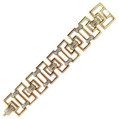 Fabulous 18 Karat Gold Diamond Wide link Contemporary Bracelet