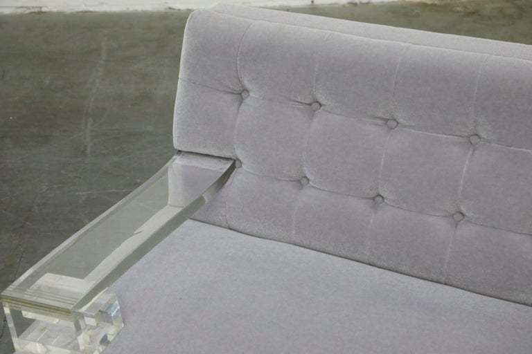 Greek Key Lucite and Lavender Mohair Loveseat / Club Chairs, circa 1960 For Sale 4