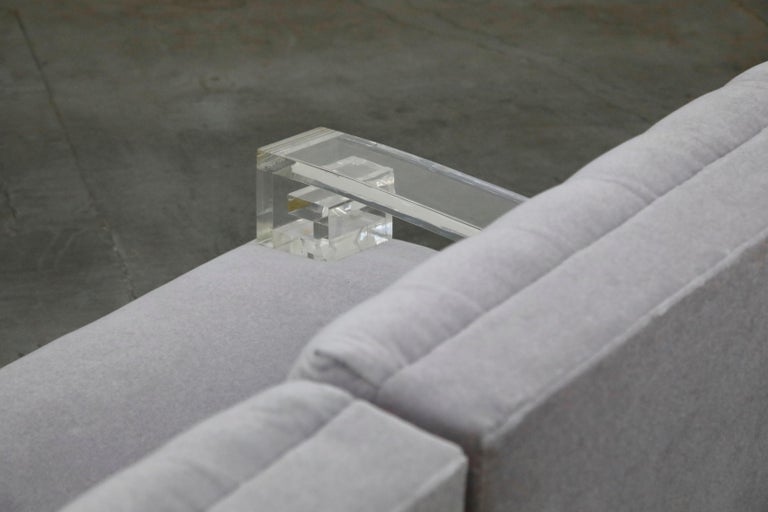 Greek Key Lucite and Lavender Mohair Loveseat / Club Chairs, circa 1960 For Sale 5