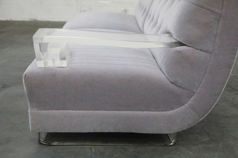 Greek Key Lucite and Lavender Mohair Loveseat / Club Chairs, circa 1960 For Sale 7