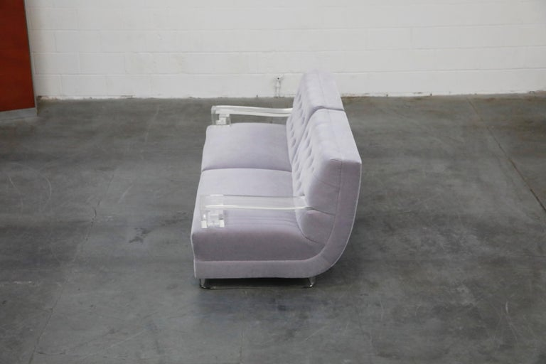Greek Key Lucite and Lavender Mohair Loveseat / Club Chairs, circa 1960 For Sale 9