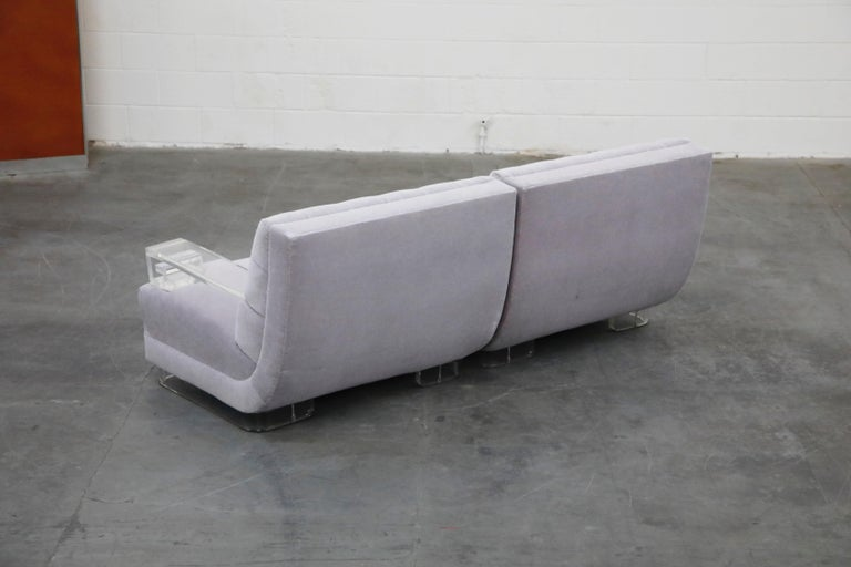 Greek Key Lucite and Lavender Mohair Loveseat / Club Chairs, circa 1960 For Sale 11