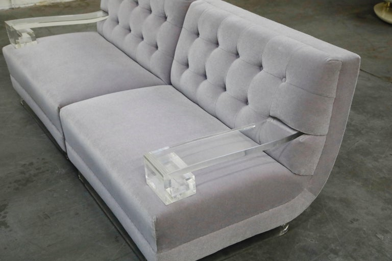 Greek Key Lucite and Lavender Mohair Loveseat / Club Chairs, circa 1960 For Sale 12