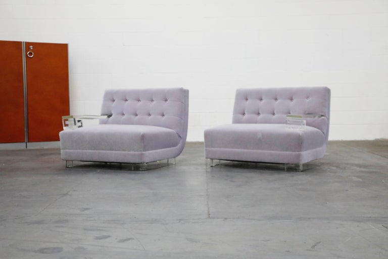 Hollywood Regency Greek Key Lucite and Lavender Mohair Loveseat / Club Chairs, circa 1960 For Sale