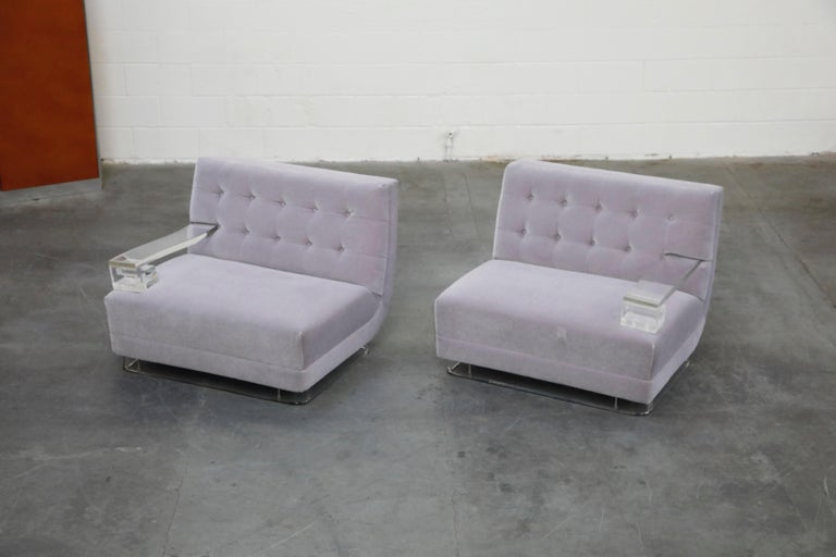 American Greek Key Lucite and Lavender Mohair Loveseat / Club Chairs, circa 1960 For Sale