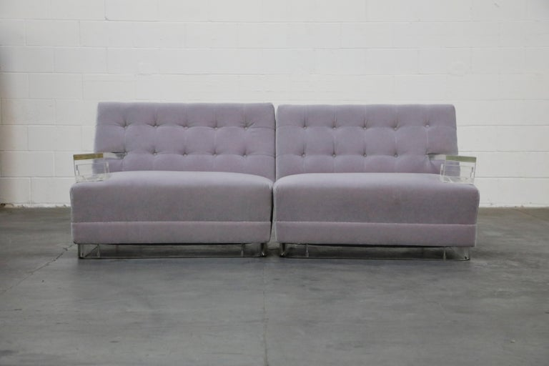 Mid-20th Century Greek Key Lucite and Lavender Mohair Loveseat / Club Chairs, circa 1960 For Sale