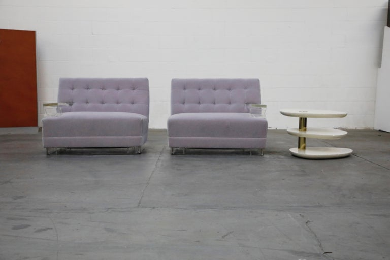 Greek Key Lucite and Lavender Mohair Loveseat / Club Chairs, circa 1960 For Sale 1
