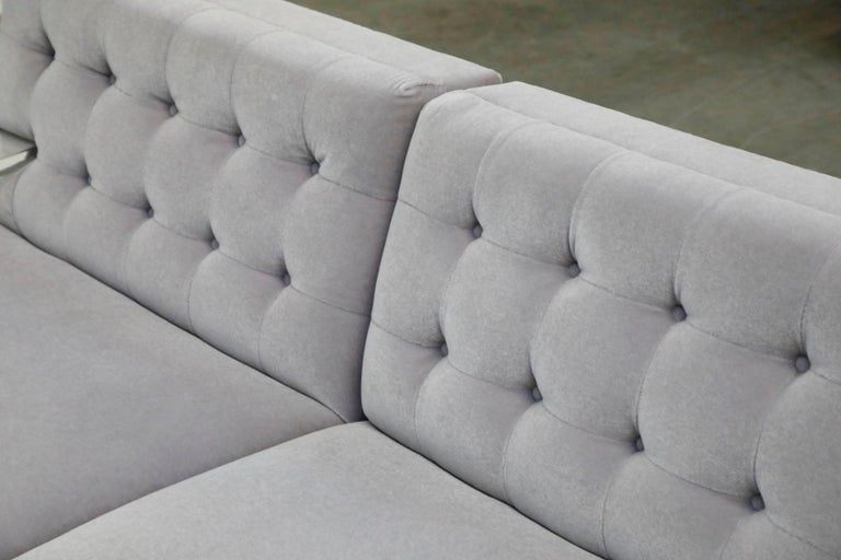 Greek Key Lucite and Lavender Mohair Loveseat / Club Chairs, circa 1960 For Sale 3