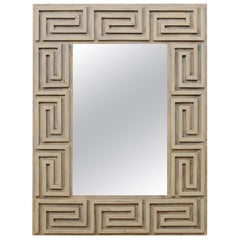 Greek Key Motif Carved and Painted Wood Rectangular Wall Mirror