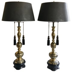 Greek Key Motif James Mont Style Mid-Century Modern Lamps, Pair