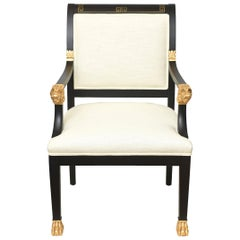Greek Key, Ram Regency Gold Leafed and Wood Upholstered Side Desk Armchair
