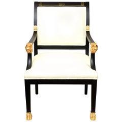 Greek Key & Ram's Head Regency Gold Leafed and Wood Upholstered Side Chair