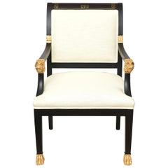 Greek Key & Ram's Head Regency Gold Leafed & Wood Upholstered Side Desk Armchair