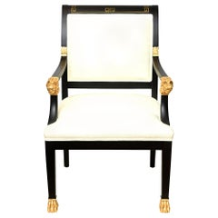 Greek Key & Ram's Head Regency Gold Leafed & Wood Upholstered Side Desk Armchair