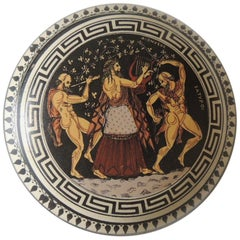 Greek Key Round Hand Painted Trinket Lidded Box