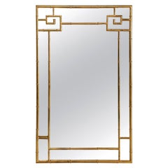 Greek Key Style Mastercraft Brass Mirror, Faux Bamboo Hollywood Regency