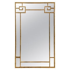 Greek Key Style Mastercraft Brass Mirror, Faux Bamboo Hollywood Regency