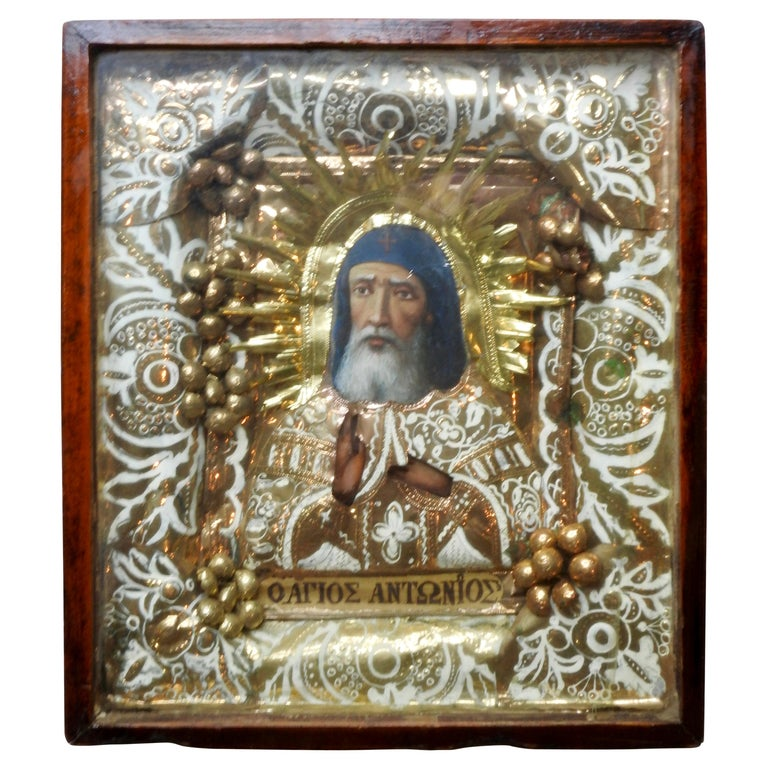 Greek Orthodox Icon of St Anthony For Sale