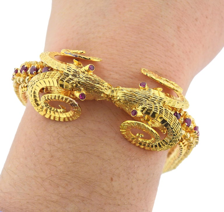 Women's Greek Ram's Head Ruby Gold Bracelet For Sale