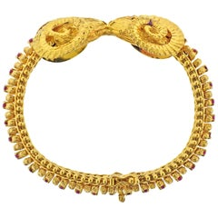 Greek Ram's Head Ruby Gold Bracelet