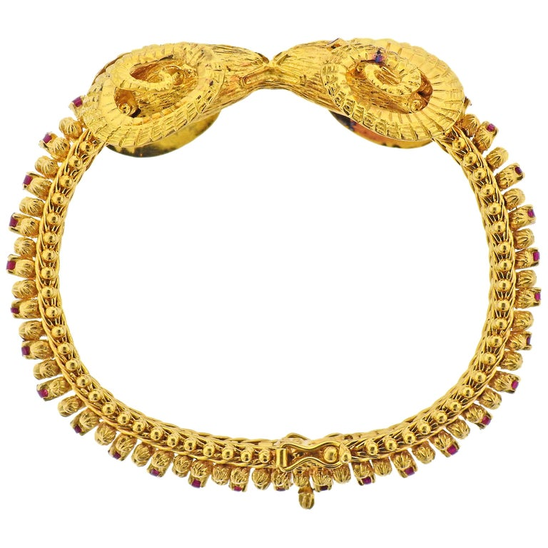 Greek Ram's Head Ruby Gold Bracelet For Sale