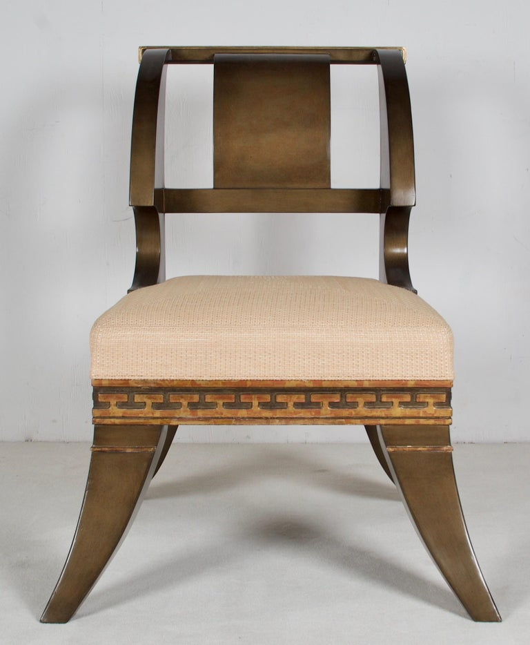 These chairs are after a model and drawings by Thomas Hope, the famous neoclassic designer of the late 18th and early 19th century England. One of his chairs you can find