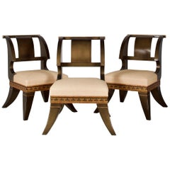 Modern Sabre Leg Chairs in  English Empire Style, after a Model by Thomas Hope